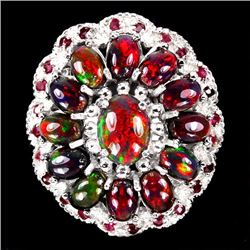 Natural Multi Color Black Opal & Ruby Ring