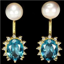 Natural London Blue Topaz & Pearl Earrings