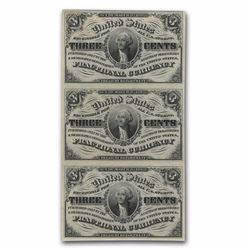 Crisp Uncirculated. Sheet 3 Notes 1863 3rd Issue Fractional Currency 3 Cents CU (FR#1226)