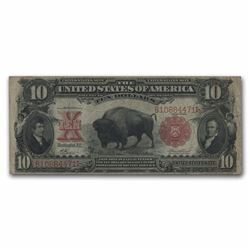 RARE 1901 $10 United States Note Lewis & Clark Bison VF