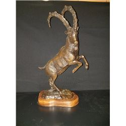 "21"" Tall One of a Kind Persian Ibex Bronze Scuplture"