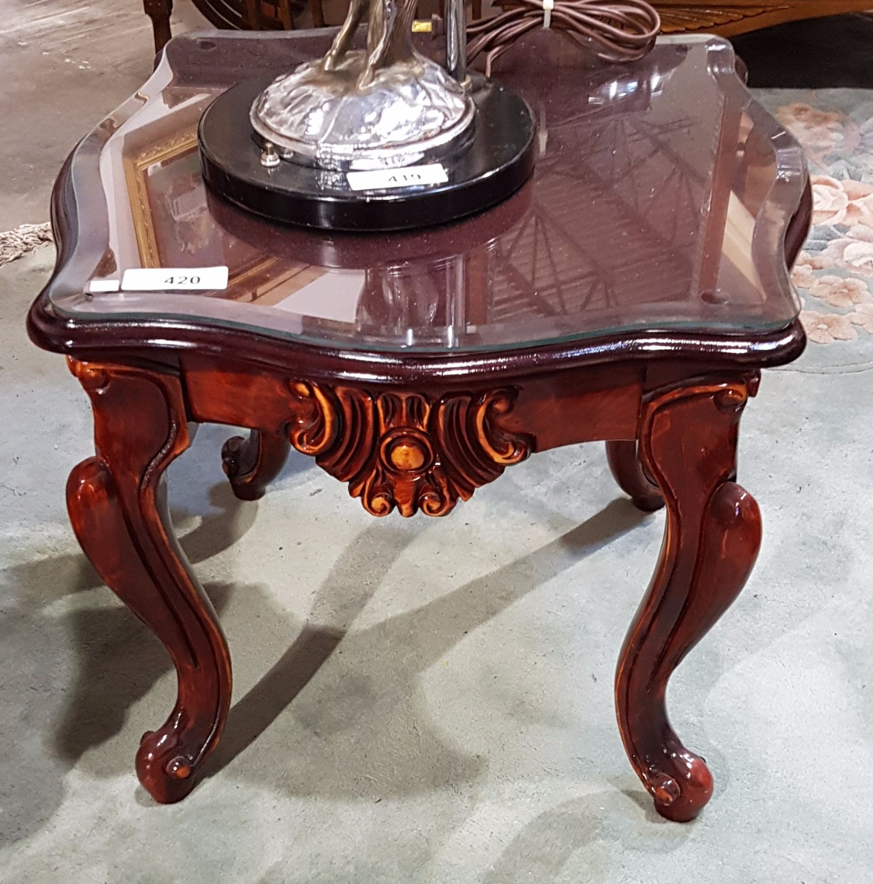 carved mahogany end table wglass top - Antique Mahogany End Tables
