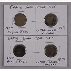 2x Sets Early Small Cent (1857 Flying Eagle, 1863