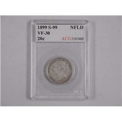 NFLD 1899 - S-99 - Silver 20 Cents. ACG (VF30) (KE