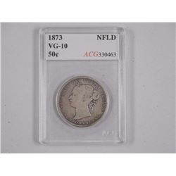 1873 Canada NFLD Silver 50 cent (SCR) (ACG) (VG10)