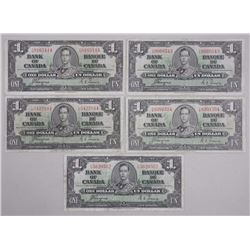 5x Bank of Canada - 1937 ONE DOLLAR NOTES