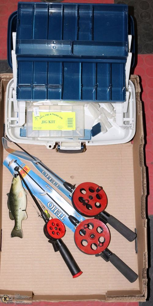 Flat of 3 ice fishing rods plano tackle box with for Ice fishing tackle box