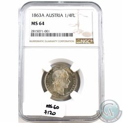Austria; 1863A 1/4 Florin NGC Certified MS-64. Finest grade known! Next best grade is MS-60 with tre