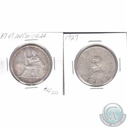 China; 1907-A French Indo China Silver Piastre & 1927 One Yuan Silver Dollar Republic of China Memen