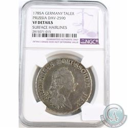 Germany; 1785A Taler Prussia DAV-2590 NGC Certified VF Details (Surface Hairlines)