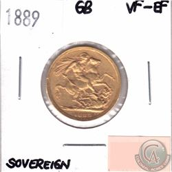 Great Britain; 1889 Gold Sovereign VF-EF