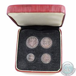 Great Britain; 1901 Maundy Money 4-coin Set in Original Red Display Box. This set contains 1, 2, 3 &
