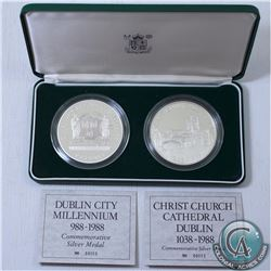 GREAT BRITAIN; Royal Mint Issue: 1988 Dublin City Sterling Silver 2-coin Medallion set. This set con