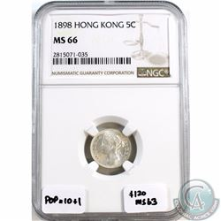 Hong Kong; 1898 5-cent NGC Certified MS-66. Tied for 2nd finest, with population of 10 and only one