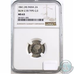 India; 1841 (M) 2 Anna's S&W-2.55 Type C/2 NGC Certified MS-63