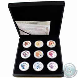Perth Mint Issue: 2012 Australia Year of the Dragon 9-coin 1oz Fine Silver Colourized Set. This set