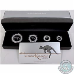 Perth Mint Issue: 2016 Australia Kangaroo .999 Fine Silver 4-coin Proof Set (outer cardboard sleeve