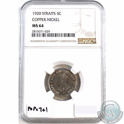 Straits Settlements; 1920 5-cent Copper-Nickel NGC Certified MS-64. Tied for 2nd finest, with popula