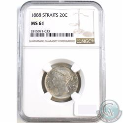 Straits Settlements; 1888 20-cent NGC Certified MS-61