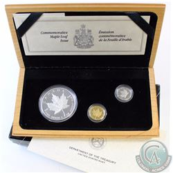 RCM Issue: 1989 Canada 3-Coin Platinum, Gold & Silver Maple Leaf Proof Set. This 3-coin set celebrat