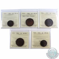 1/2-cent Nova Scotia 1861 ICCS Certified EF-40, 1/2-cent 1864 EF-40, 1-cent 1861 Small Bud EF-40 (Cl