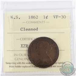 1-cent Nova Scotia 1862 ICCS Certified VF-30 (Cleaned)