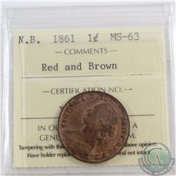 1-cent New Brunswick 1861 ICCS Certified MS-63 Red and Brown