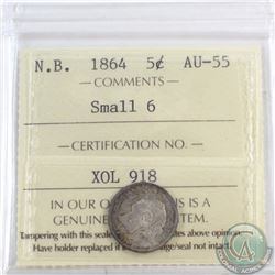 5-cent New Brunswick 1864 Small 6 ICCS Certified AU-55