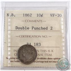 10-cent New Brunswick 1862 Double Punched 2 ICCS Certified VF-30