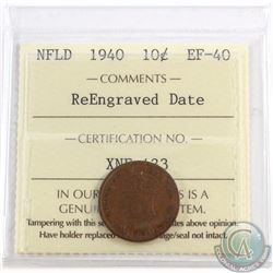 10-cent Newfoundland 1940 Re-Engraved Date ICCS Certified EF-40