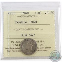 10-cent Newfoundland 1940 Double 1940 ICCS Certified VF-30
