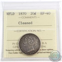 20-cent Newfoundland 1870 ICCS Certified EF-40 (Cleaned)
