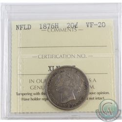 20-cent Newfoundland 1876H ICCS Certified VF-20