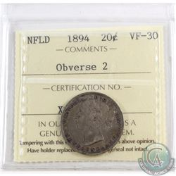 20-cent Newfoundland 1894 Obverse 2 ICCS Certified VF-30