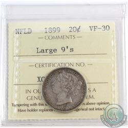 20-cent Newfoundland 1899 Large 9's ICCS Certified VF-30