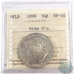 50-cent Newfoundland 1899 Wide 9's ICCS Certified VF-30