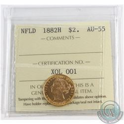 Newfoundland 1882H Two Dollar Gold ICCS Certified AU-55