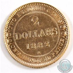 Newfoundland 1882H Two Dollar Gold Almost Uncirculated