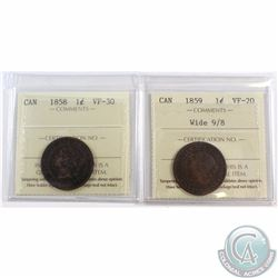 1-cent 1858 ICCS Certified VF-30 & 1859 Wide 9/8 VF-20. 2pcs