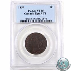 1-cent 1859 DP N9 #1 PCGS Certified VF-35
