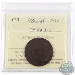1-cent 1859 DP N9 #1 ICCS Certified F-12