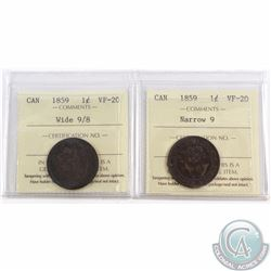 1-cent 1859 Narrow 9 & 1859 Wide 9/8 ICCS Certified VF-20. 2pcs