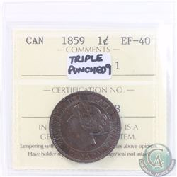 "1-cent 1859 Triple Punch N9 #1 ICCS Certified EF-40. Note holder says ""DP N9 #1"" we are selling this"