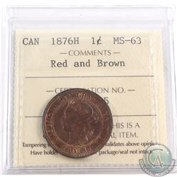 1-cent 1876H ICCS Certified MS-63. Red and Brown