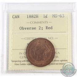 1-cent 1882H Obverse 2 ICCS Certified MS-63 Red