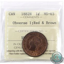 1-cent 1882H Obverse 1 ICCS Certified MS-63 Red and Brown