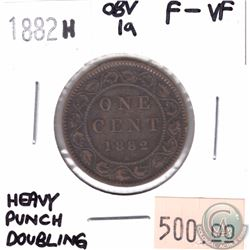 1-cent 1882H Obverse 1a Heavy Double Punching F-VF