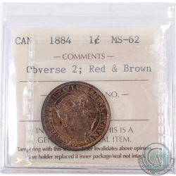 1-cent 1884 Obverse 2 ICCS Certified MS-62. Red/Brown