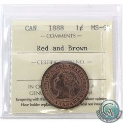 1-cent 1888 ICCS Certified MS-63 Red and Brown