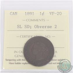 1-cent 1891 SD SL Obverse 2 ICCS Certified VF-20